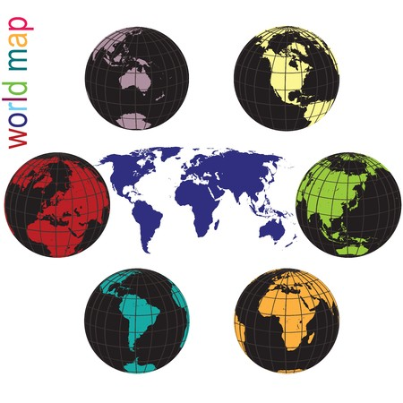 Set of Earth globes and world map in all colors Stock Photo - 7321368