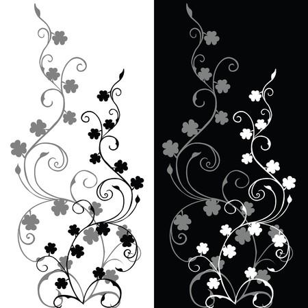 Set of foliajes in black and white photo