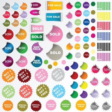 discounted: Set of sale stickers and labels Stock Photo