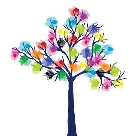 Abstract tree with ink spots Stock Photo - 7352845