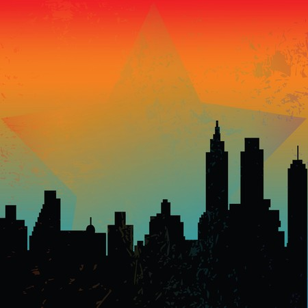 Background with skyscrapers and sunrise photo