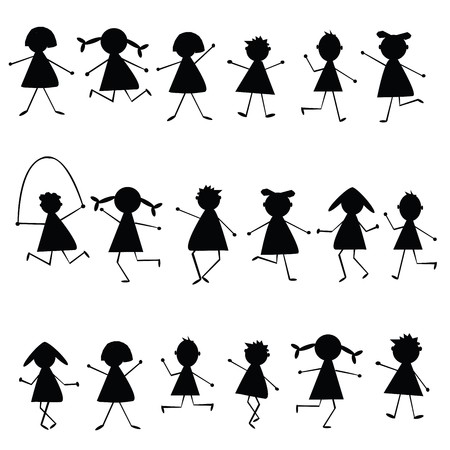 Black stylized children silhouettes