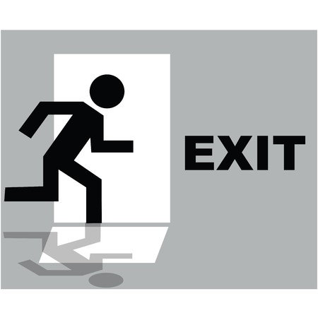 Grey exit sign icon photo