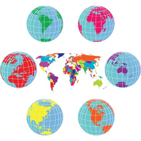 Set with Earth globes and world map in different colors Stock Photo - 7445469