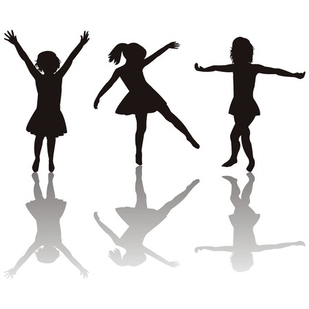 young girl: Three little girls silhouettes