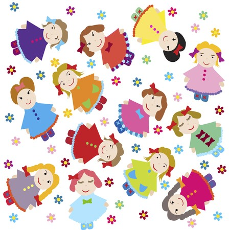 plushie: cute baby background with dolls Stock Photo