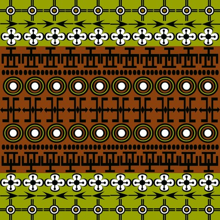 african fabric: Ethnic African symbols background with green and brown