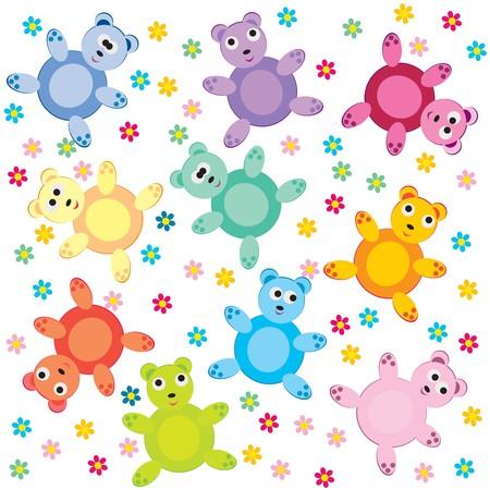 teddy bears: transparente con osos de peluche de colores