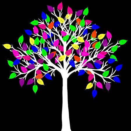Foglie colorate di bianco albero con neon
