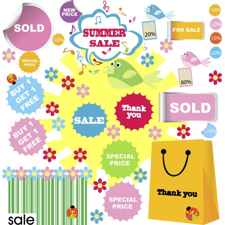 set of summer sale with shopping stickers photo