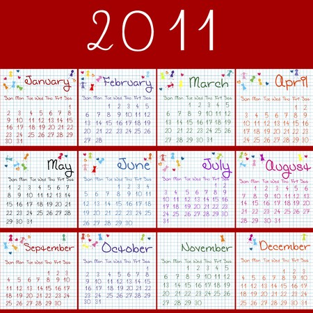 julie: 2011 calendar on math pages and red background