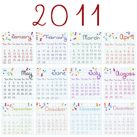 julie: 2011 calendar on math pages Stock Photo