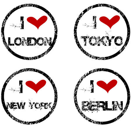 ny: Stamps with I love big cities