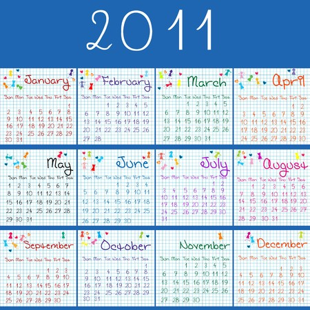 2011 calendar on math pages and blue bcakground Stock Photo - 7613443