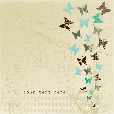 Grunge retro background with butterflies