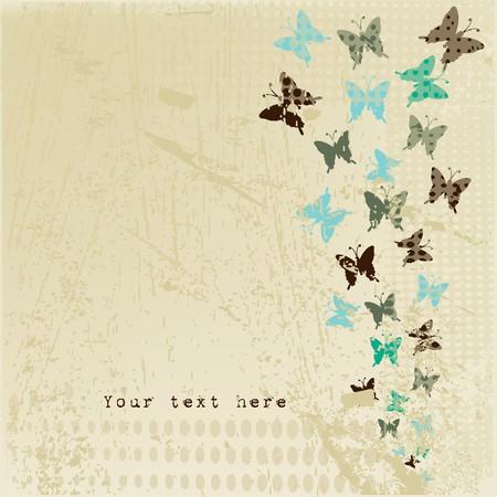 Grunge retro background with butterflies photo