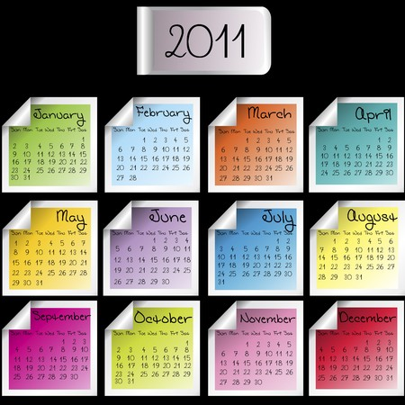 2011 calendar on colored sheets over black background Stock Photo - 7718156