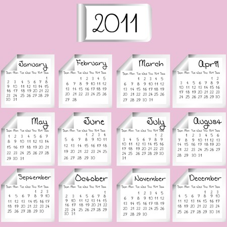 2011 calendar on white sheets over pink background Stock Photo - 7718152