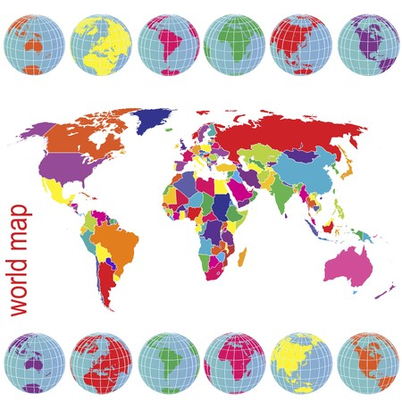 Colored world map and Earth globes Stock Photo - 7718162