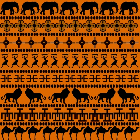 African motives with African animals and women photo