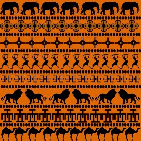 Motivos africanos con animales africanos y las mujeres  Foto de archivo - 7783767