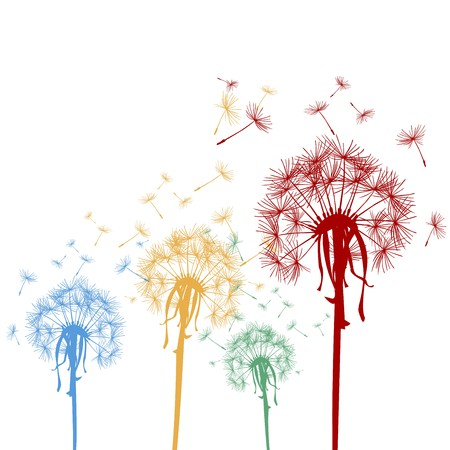 blowing wind: Colored dandelions