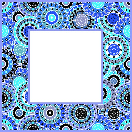 Frame with blue motifs photo