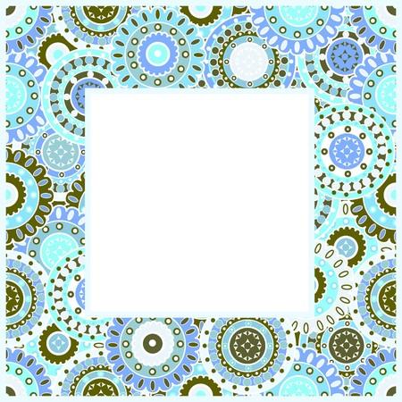 Frame with blue oriental motifs photo