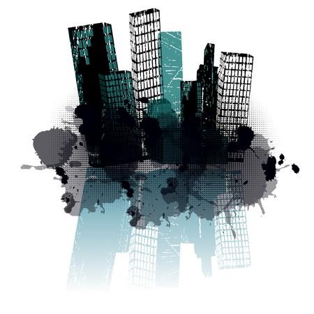 Grunge blue city Stock Photo - 7783765