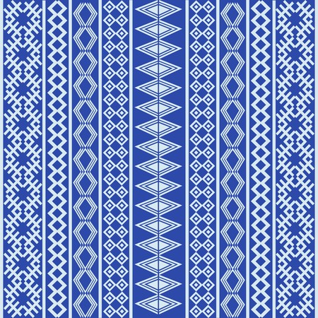 Blue ethnic texture with white elements photo