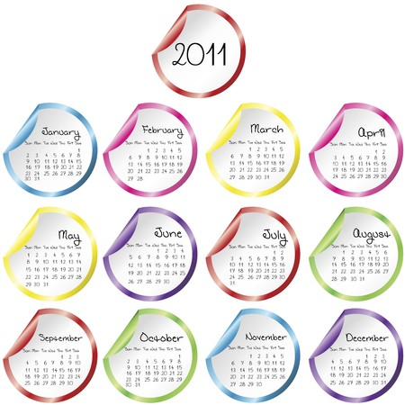 Calendar with colored stickers Stock Photo - 7830767