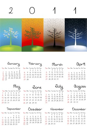 julie: Calendar with abstract trees