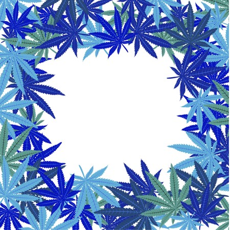 weeds: Frame with blue marijuana leaves Stock Photo