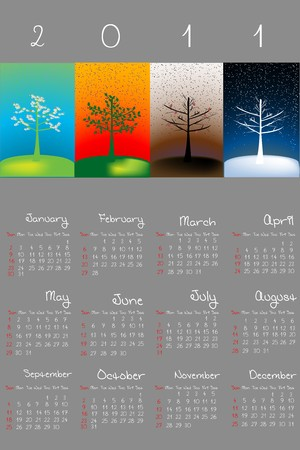 julie: 2011 calendar with seasons on grey background Stock Photo