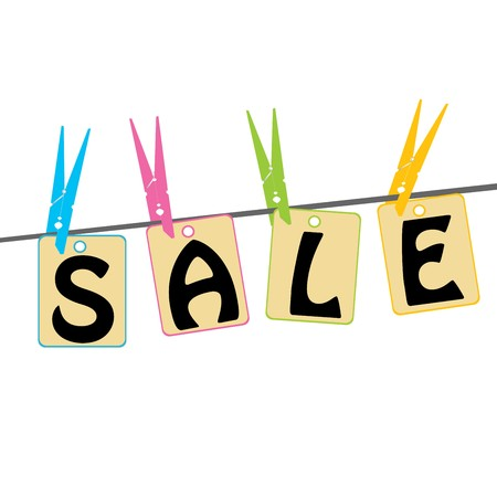 clothes pegs: Sale tags caught with clothes pegs Stock Photo