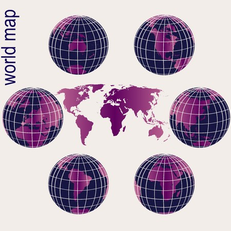 Set of purple Earth globes and world map Stock Photo - 8002472