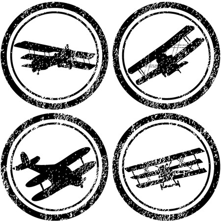 Stamps with old airplanes photo