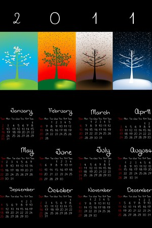 julie: 2011 Calendar with seasons over black background