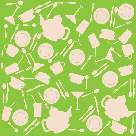 Green background with kitchen stuff Stock Photo - 8105977