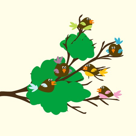 Colored birds on a leafy branch Stock Photo - 8106046
