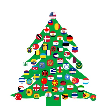 Christmas tree with country flags photo