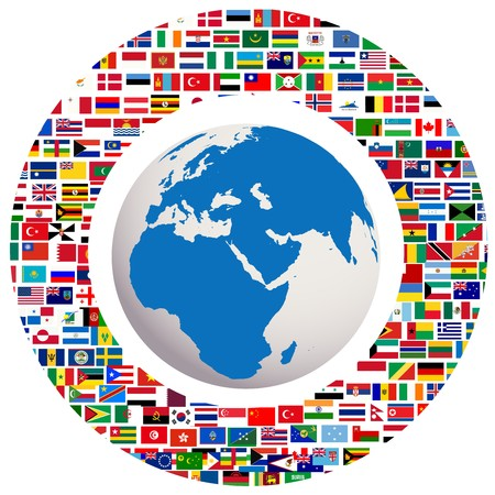 Earth globe with all flags photo