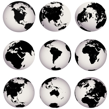 map europe: Earth globes Stock Photo