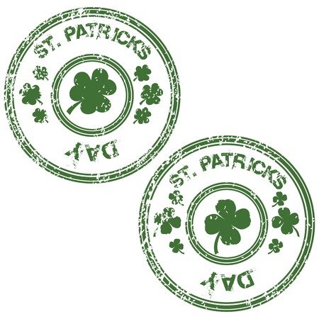 Green grunge stamps for St. Patricks Day photo