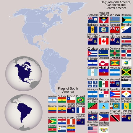 Map of North and South America with all flags and Earth globes Stock Photo - 8254769