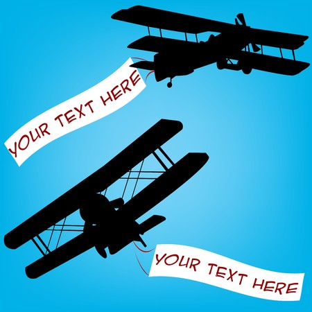 comercial: Old planes with comercial banners