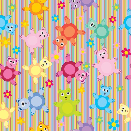 Stripes and bears pattern seamless, background for kids photo