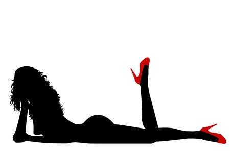 mujer sexi desnuda: Silueta de mujer sexy desnuda con zapatos rojos