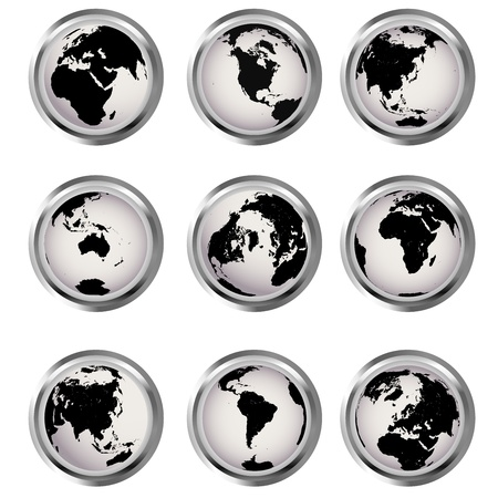 Web buttons with Earth globes Stock Photo - 8298605