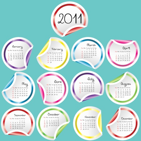 2011 Calendar with colored curled stickers corners Stock Photo - 8369907
